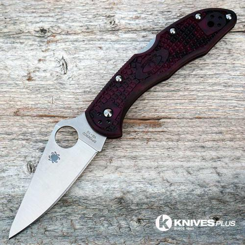MODIFIED Spyderco Delica 4 - VG10 - BLACK CHERRY Zome - Rit Dye Handle - Very Limited