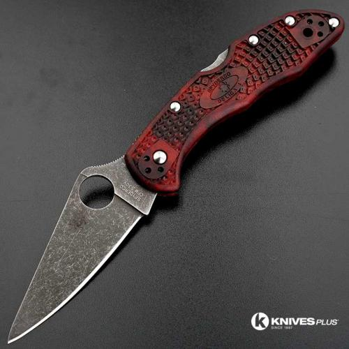 MODIFIED Spyderco Delica 4 - S30V - Acid Stonewash - Red and Black Zome - Rit Dye Handle
