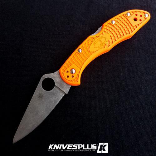 MODIFIED Spyderco Delica 4 - Acid Wash -  Orange Handle/Black Backspacer