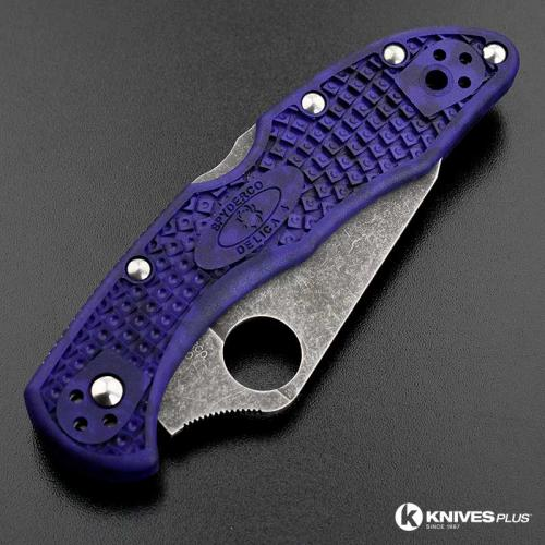MODIFIED Spyderco Delica 4 - VG10 - Acid Stonewash - Regrind - Blurple Zome - Rit Dye Handle