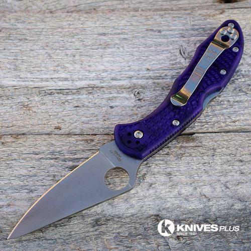 MODIFIED Spyderco Delica 4 - Satin VG10 - Blurple Zome - Rit Dye Handle