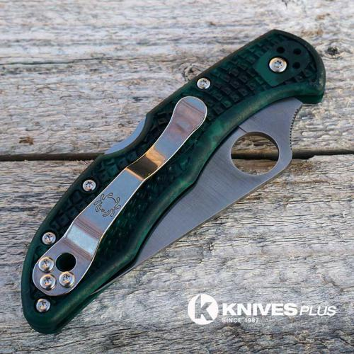 MODIFIED Spyderco Delica 4 - Satin S30V - Forest Zome - Rit Dye Hand
