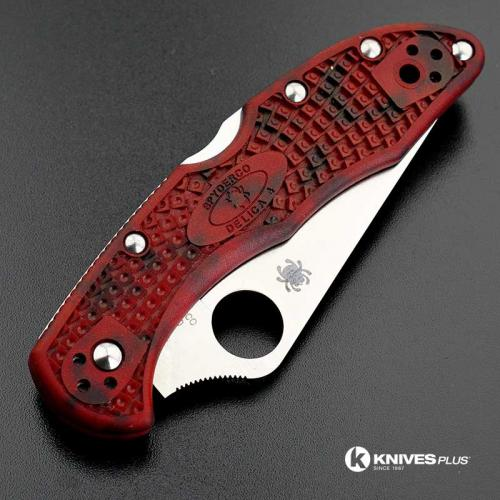 MODIFIED Spyderco Delica 4 - Satin VG10 - Red and Black Zome - Rit Dye Handle