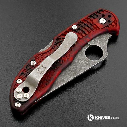 MODIFIED Spyderco Delica 4 - VG10 - Acid Stonewash - Red and Black Zome - Rit Dye Handle