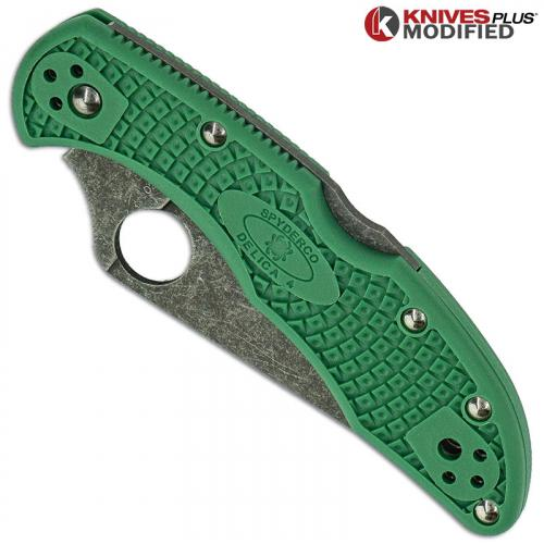 MODIFIED Spyderco Delica 4 - Acid Wash -  Green Handle/Green Backspacer