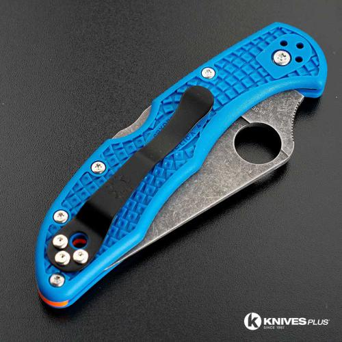 MODIFIED Spyderco Delica 4 - Acid Wash -  Blue Handle/Orange Backspacer
