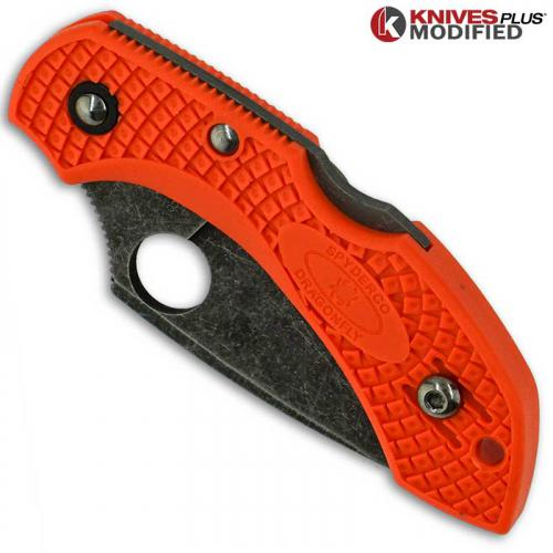 MODIFIED Spyderco Dragonfly 2 - ACID WASH - Orange Handle