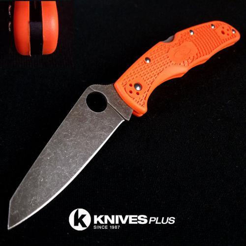 MODIFIED Spyderco Endura 4 - ACID WASH - REGRIND - Orange Handle/Black Backspacer