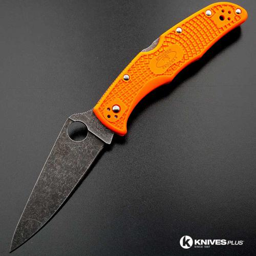 MODIFIED Spyderco Endura 4 - ACID WASH - Orange Handle/Black Backspacer