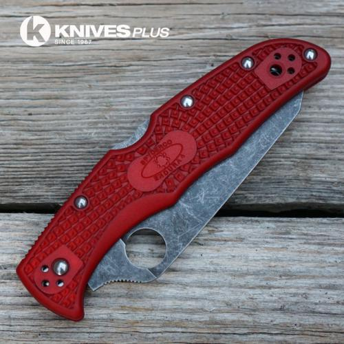 MODIFIED Spyderco Endura 4 - The Red Dragon - Acid Wash - Regrind - Rit Dyed Handle