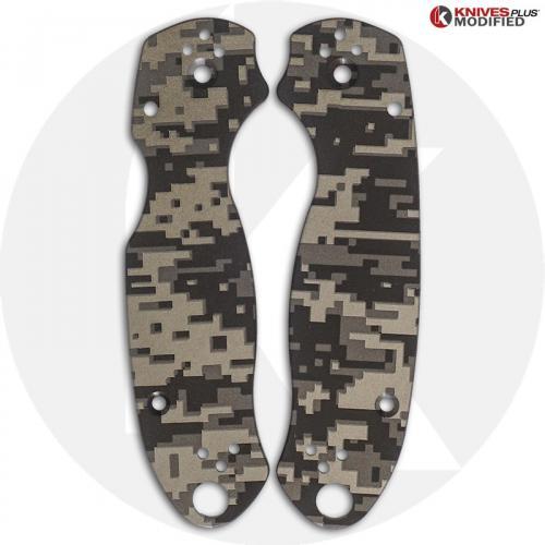 KP Custom Titanium Scales for Spyderco Para 3 Knife - Blasted Finish - Digital Camo Engraved