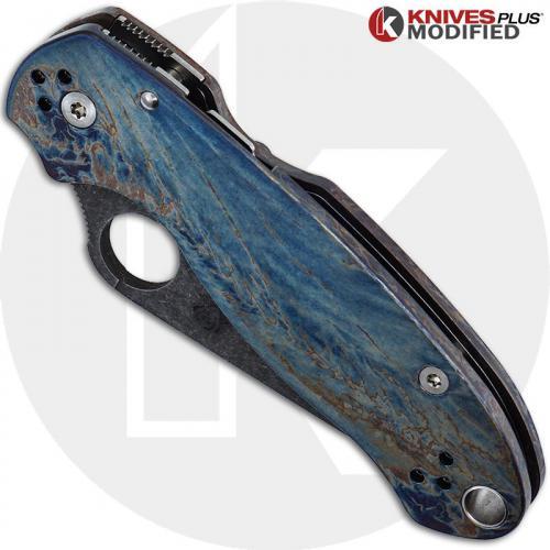 MODIFIED Spyderco Para 3 Knife with Acid Stonewash + KP Titanium Scales MAYHEM FINISH