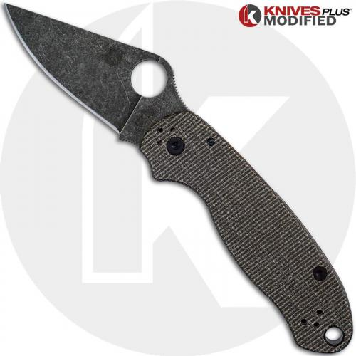 MODIFIED Spyderco Para 3 Knife with Acid Stonewash Blade + KP Dark Brown Micarta Scales + All Black Hardware