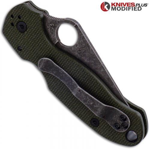 MODIFIED Spyderco Para 3 Knife with Acid Stonewash Blade + KP OD Green Micarta Scales + All Black Hardware