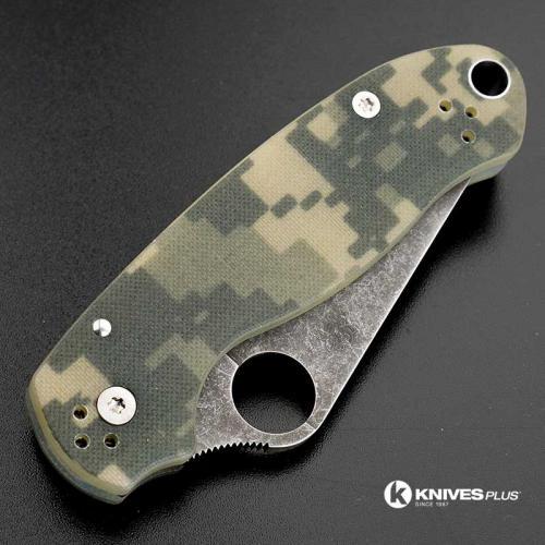 MODIFIED Spyderco Para 3 Knife ACID WASH Blade Camo G10