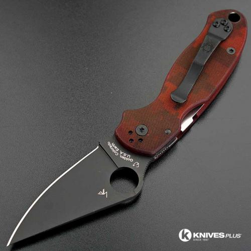 MODIFIED Spyderco Para 3 Knife - Red Digital Camo - DLC Blade - Rit Dyed Handle