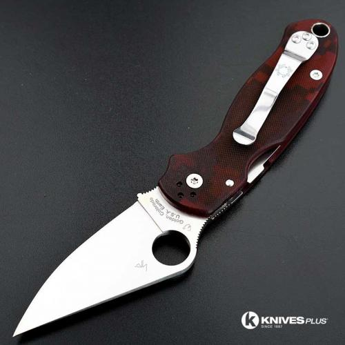 MODIFIED Spyderco Para 3 Knife - Red Digital Camo - Satin Blade - Rit Dyed Handle