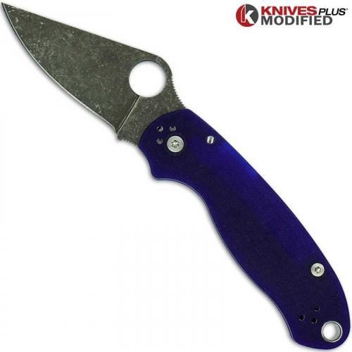 MODIFIED Spyderco Para 3 ACID WASHED S110V Blue G10