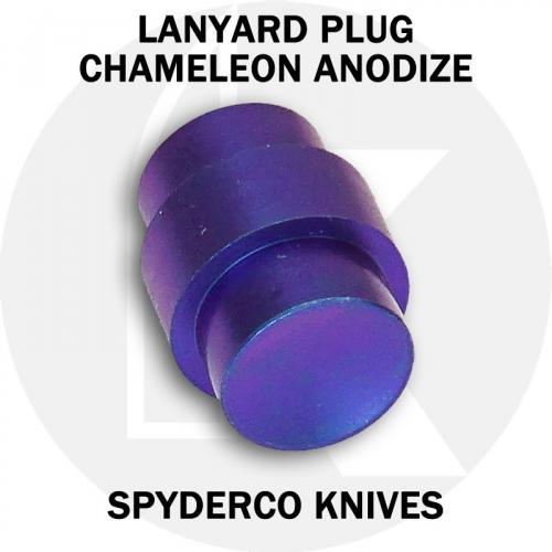 KP Custom Titanium Lanyard Plug for Spyderco Para Military 2 or Para 3 Knife - High Voltage Chameleon Anodized