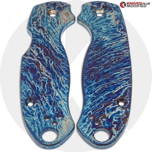 KP Custom Titanium Scales for Spyderco Para 3 Knife - Mayhem Finish