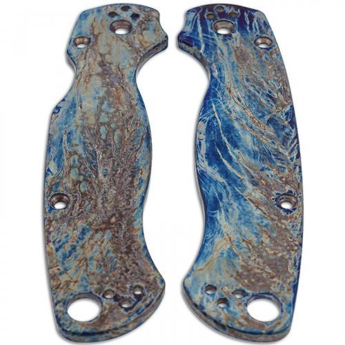 KP Custom Titanium Scales for Spyderco Para Military 2 Knife - Mayhem Finish