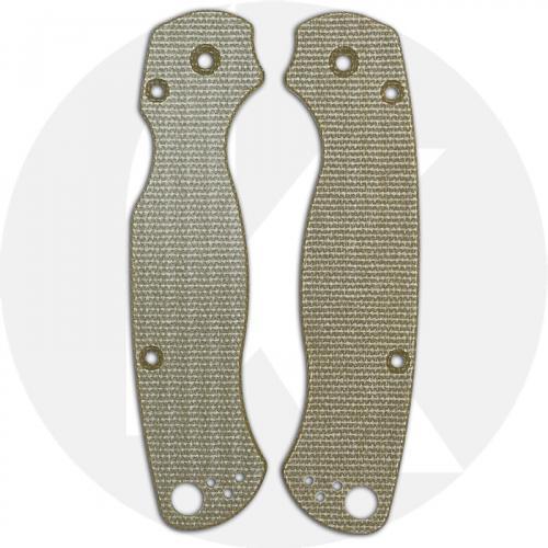 KP Custom Micarta Scales for Spyderco Para Military 2 Knife - Green Linen
