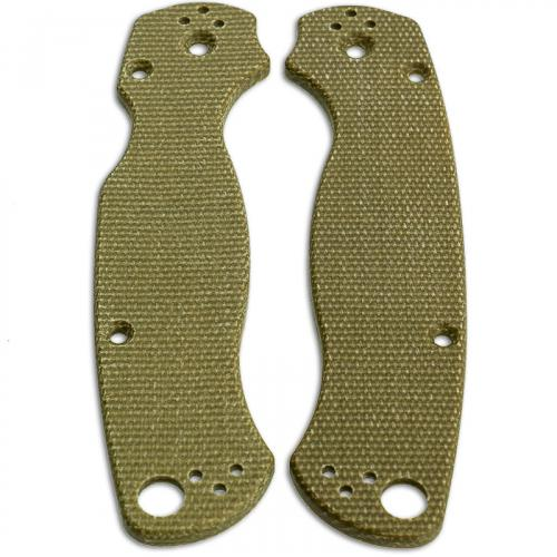 KP Custom Micarta Scales for Spyderco Para Military 2 Knife - Green Linen