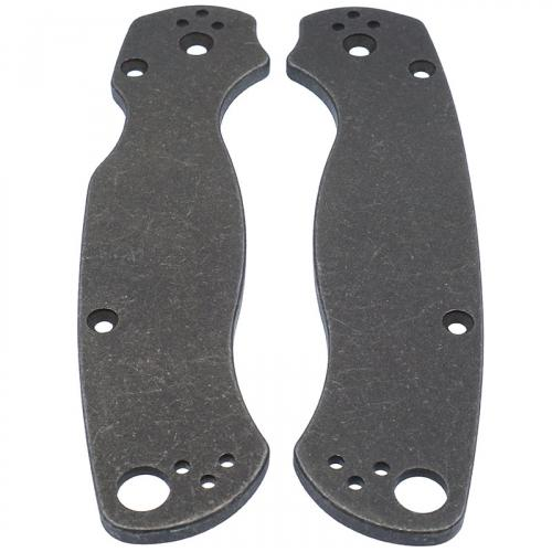 KP Custom Titanium Scales for Spyderco Para Military 2 Knife - Blasted + Stonewashed