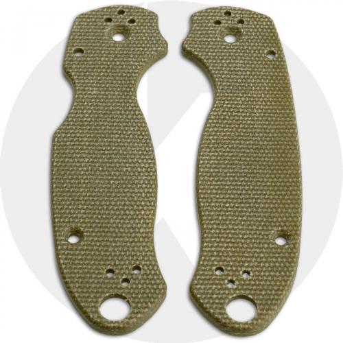 KP Custom Micarta Scales for Spyderco Para 3 Knife - Green Linen