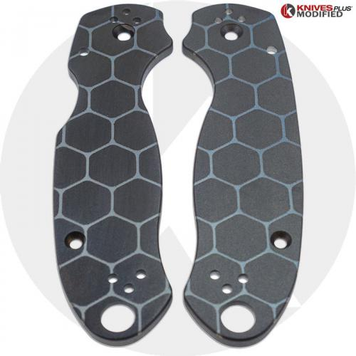 KP Custom Titanium Scales for Spyderco Para 3 Knife - Black Anodized Finish - Hive Engraved