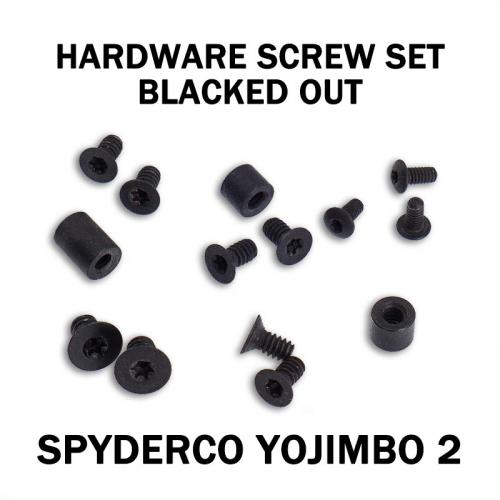 Replacement Screw Set for Spyderco Yojimbo 2 - Stainless Steel - Blacked Out
