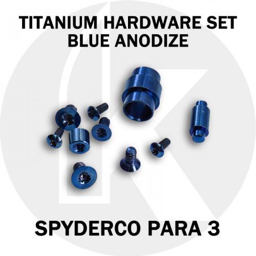 Titanium Replacement Screw Set for Spyderco Para 3 Knife - Blue Anodize
