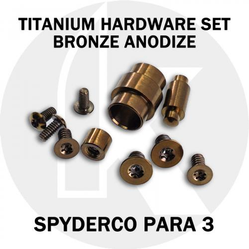 Titanium Hardware Replacement Screw Set for Spyderco Para 3 Knife - Bronze Anodize