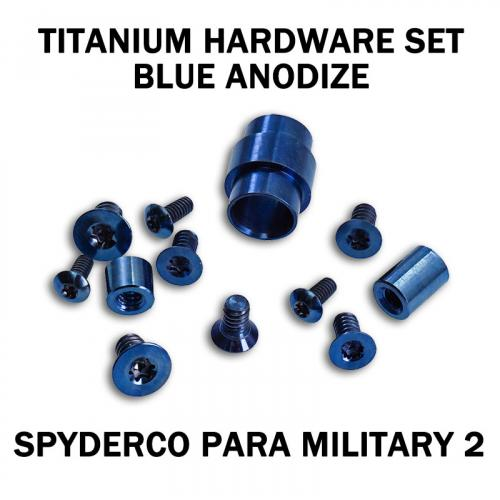 Titanium Hardware Replacement Screw Set for Spyderco Para Military 2 Knife - Blue Anodize