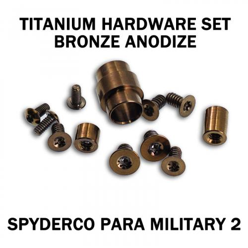 Titanium Hardware Replacement Screw Set for Spyderco Para Military 2 Knife - Bronze Anodize