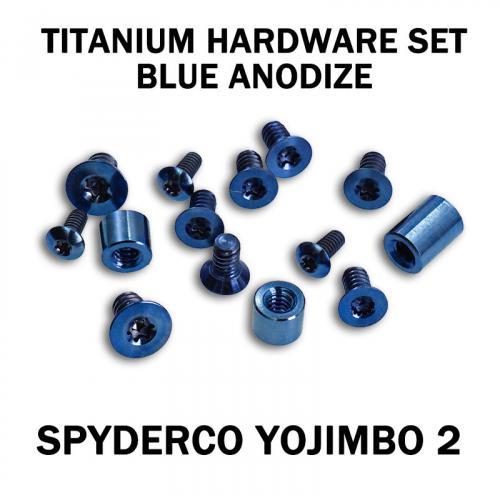 Titanium Hardware Replacement Screw Set for Spyderco Yojimbo 2 Knife - Blue Anodize