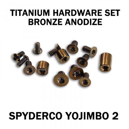 Titanium Hardware Replacement Screw Set for Spyderco Yojimbo 2 Knife - Bronze Anodize