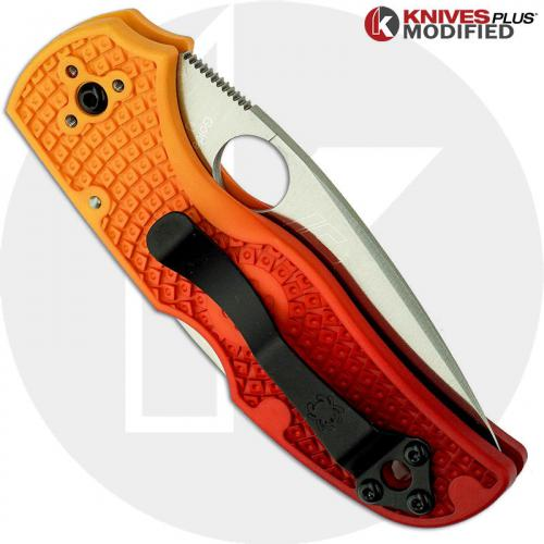 MODIFIED Spyderco Native Salt Knife - Red Fade Rit Dye Handle