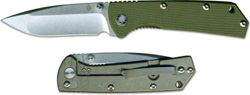 Kizer V3 Vigor Ki403A1 EDC Drop Point Frame Lock Folding Knife Green G10 and Titanium