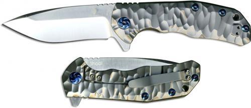 Kizer Shoal Ki4469A1 Kim Ning EDC Frame Lock Flipper Folder Drop Point with Milled Gray Titanium