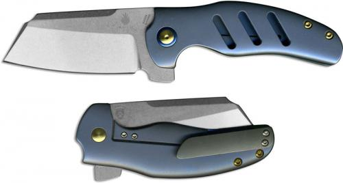 Kizer c01c Sheepdog Ki4488A Chris Conaway Cleaver Style Blue Ti Flipper Folding Knife