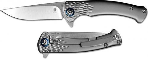 Kizer Sealion Ki4509 Uli Hennicke EDC Frame Lock Flipper Folder Drop Point with Milled Titanium