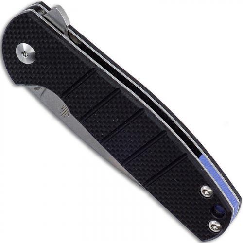 Kizer Vanguard Gemini V3471N1 - Ray Laconico - Stonewash N690 Drop Point - Milled Black G10 - Liner Lock Flipper Folder