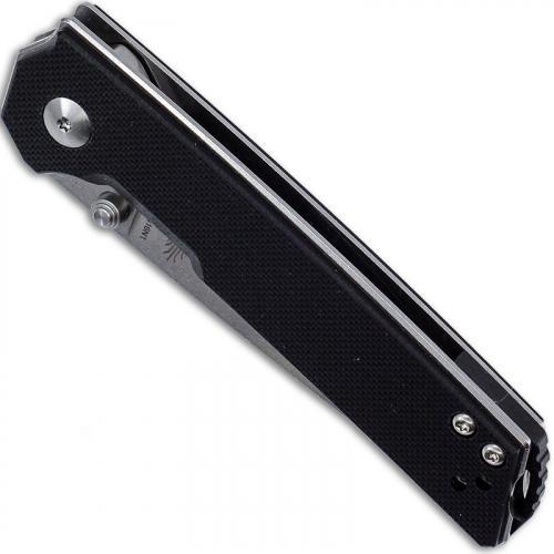 Kizer Vanguard Domin Mini V3516N1 - Azo - Stonewash N690 Drop Point - Black G10 - Liner Lock Folder
