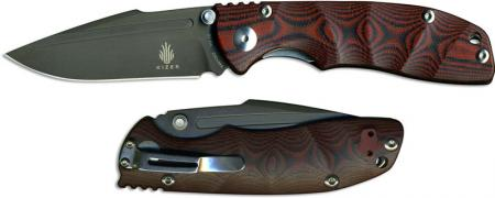 Kizer V4412A2 Vanguard Bolt with VG10 Blade and Red and Black G10 Handle, Ki-V4412A2