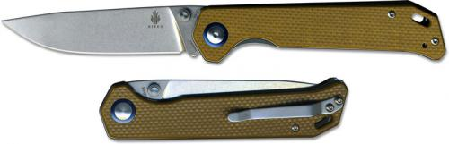 Kizer Begleiter Vanguard V4458A4 EDC Liner Lock Folder Stonewash Drop Point with Brown G10