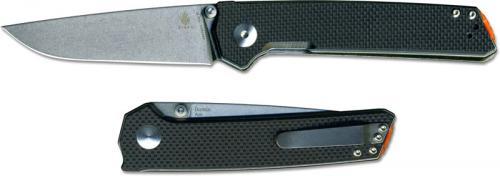 Kizer Domin Vanguard V4516A1 Azo EDC Stonewash Drop Point Black G10 Liner Lock Folder