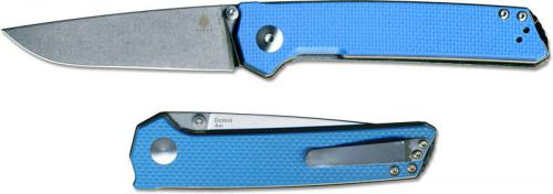 Kizer Domin Vanguard V4516A3 Azo EDC Stonewash Drop Point Blue G10 Liner Lock Folder