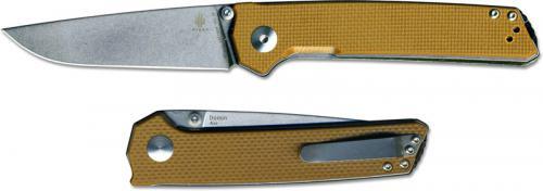Kizer Domin Vanguard V4516A4 Azo EDC Stonewash Drop Point Brown G10 Liner Lock Folder