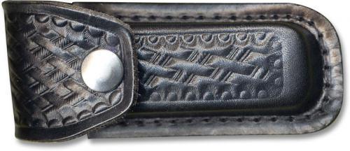 Knife Sheath: Small Black Basketweave Leather Sheath, MC-200
